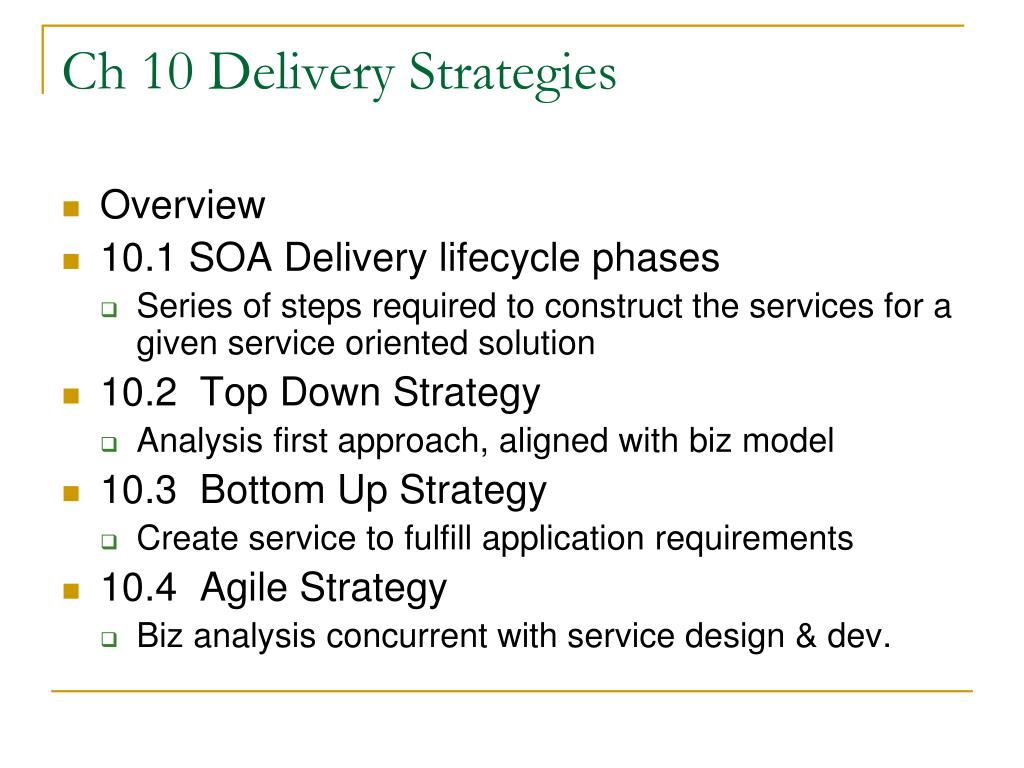 Ch 10 Delivery Strategies