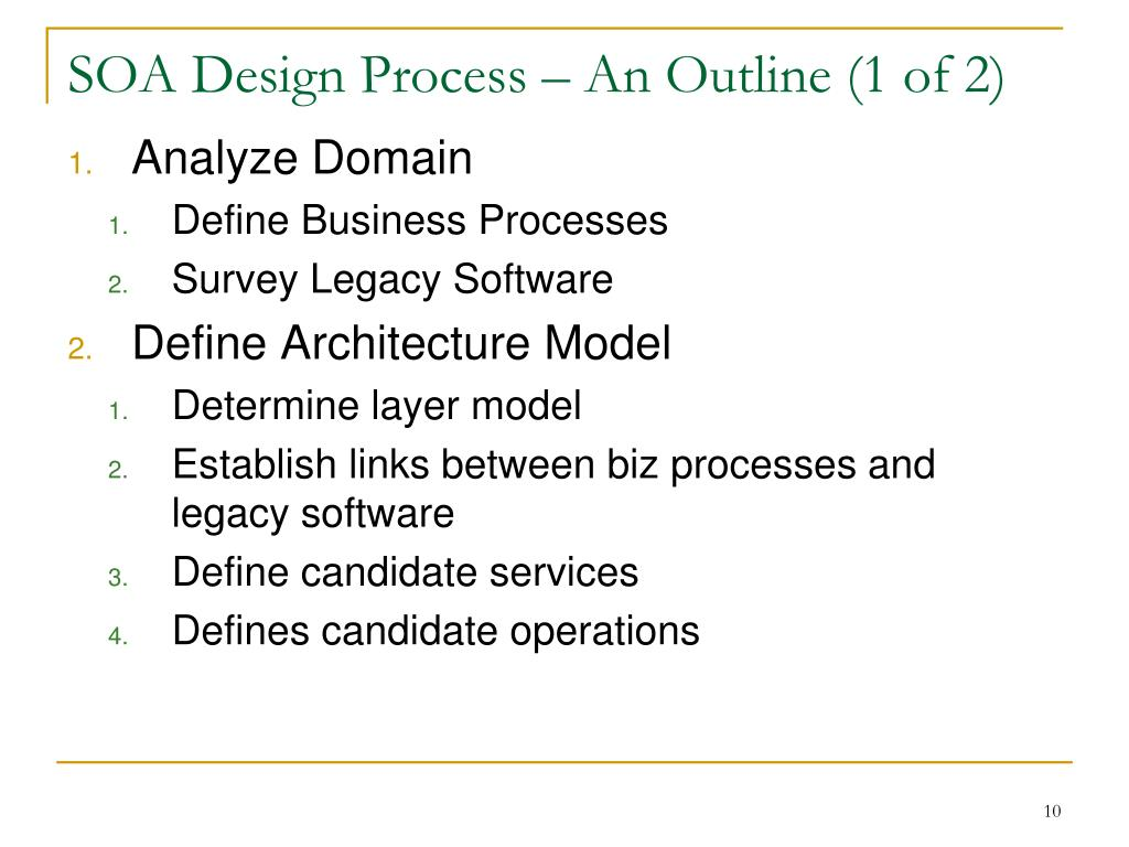 SOA Design Process – An Outline (1 of 2)