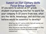 summit on 21st century skills focus group question