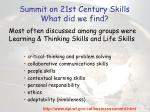 summit on 21st century skills what did we find