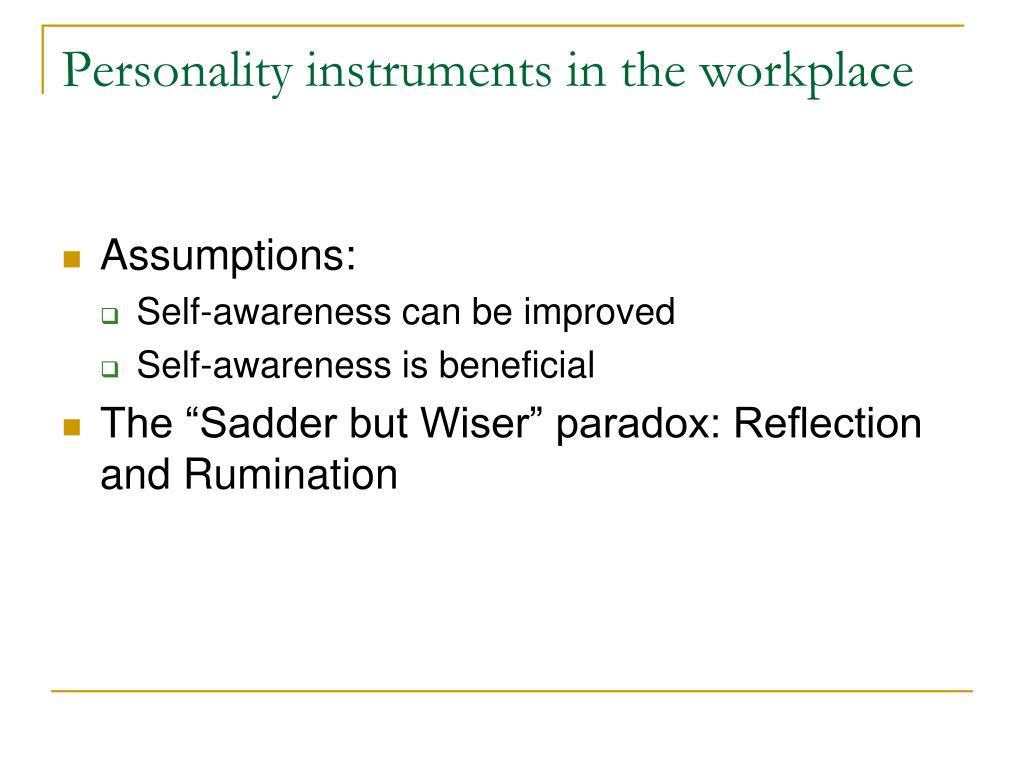 Personality instruments in the workplace