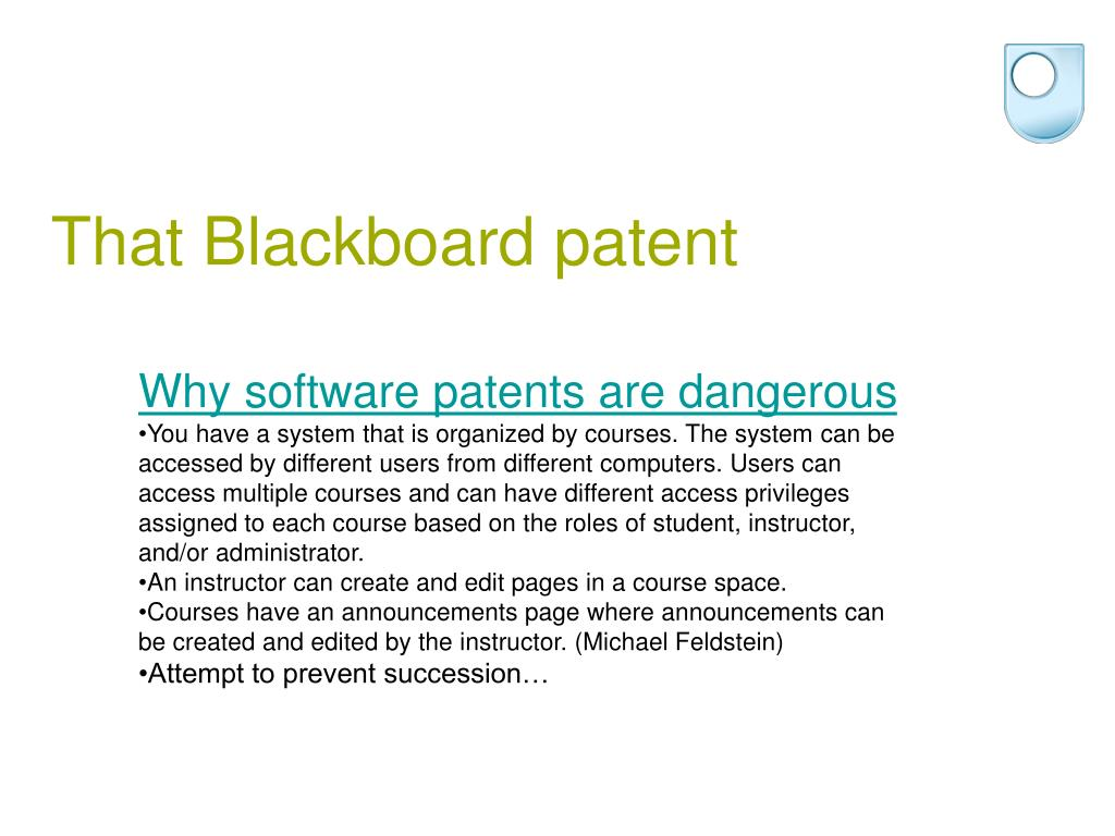 That Blackboard patent