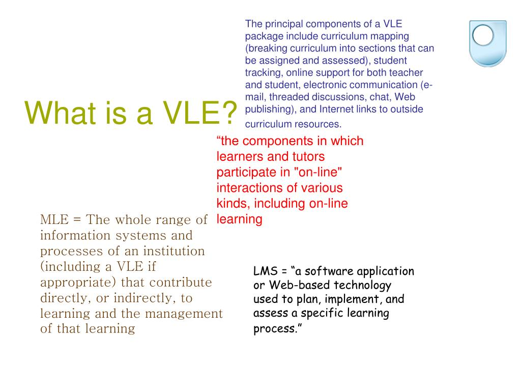 The principal components of a VLE package include curriculum mapping (breaking curriculum into sections that can be assigned and assessed), student tracking, online support for both teacher and student, electronic communication (e-mail, threaded discussions, chat, Web publishing), and Internet links to outside curriculum resources.
