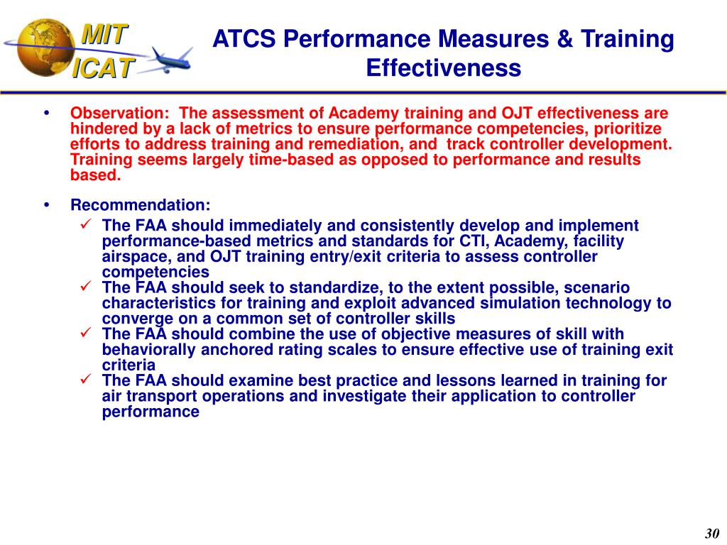 ATCS Performance Measures & Training Effectiveness