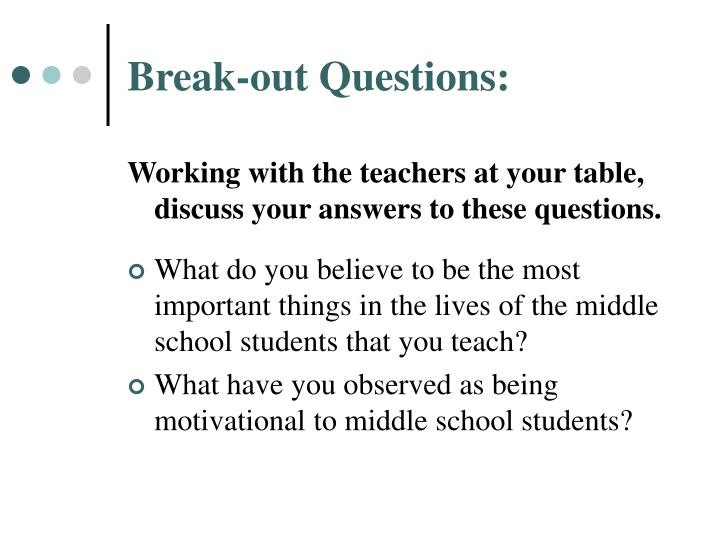Break out questions