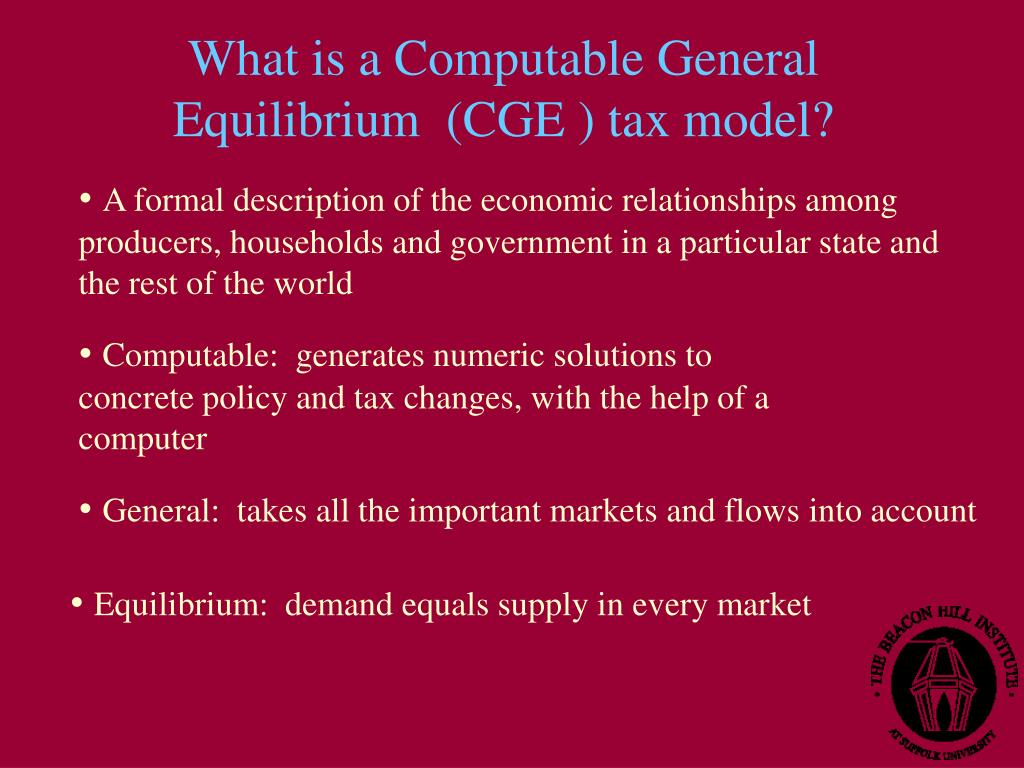 What is a Computable General Equilibrium  (CGE ) tax model?