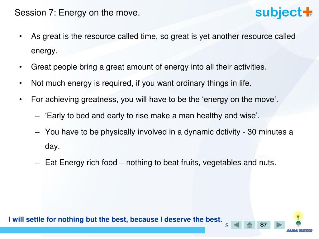 Session 7: Energy on the move.