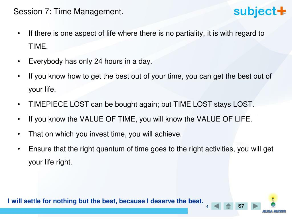 Session 7: Time Management.