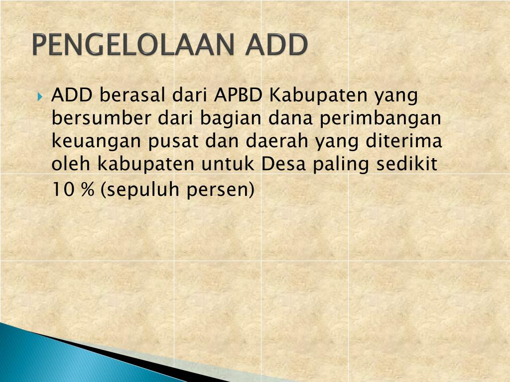 PENGELOLAAN ADD