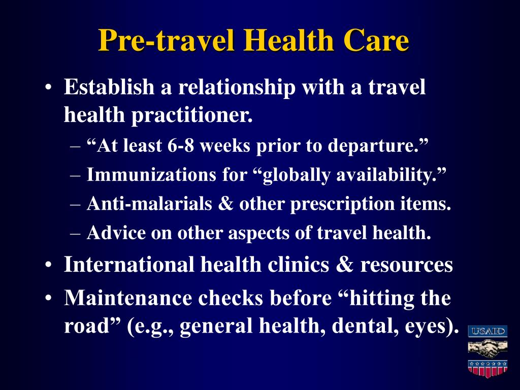 Pre-travel Health Care