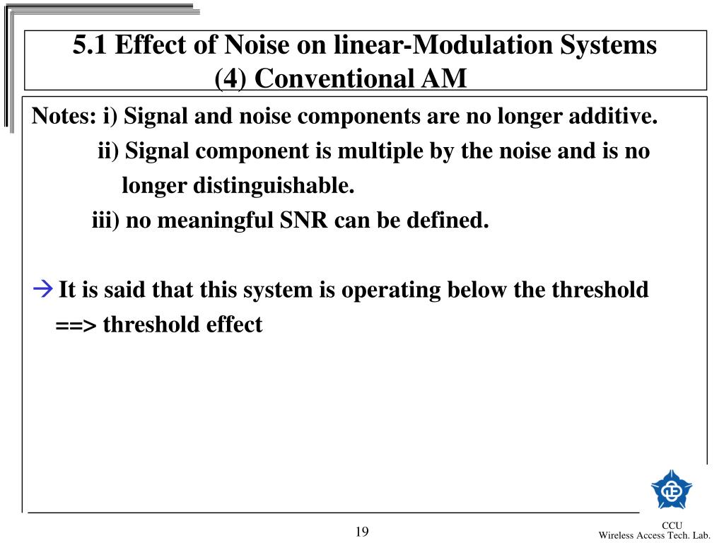 5.1 Effect of Noise on linear-Modulation Systems