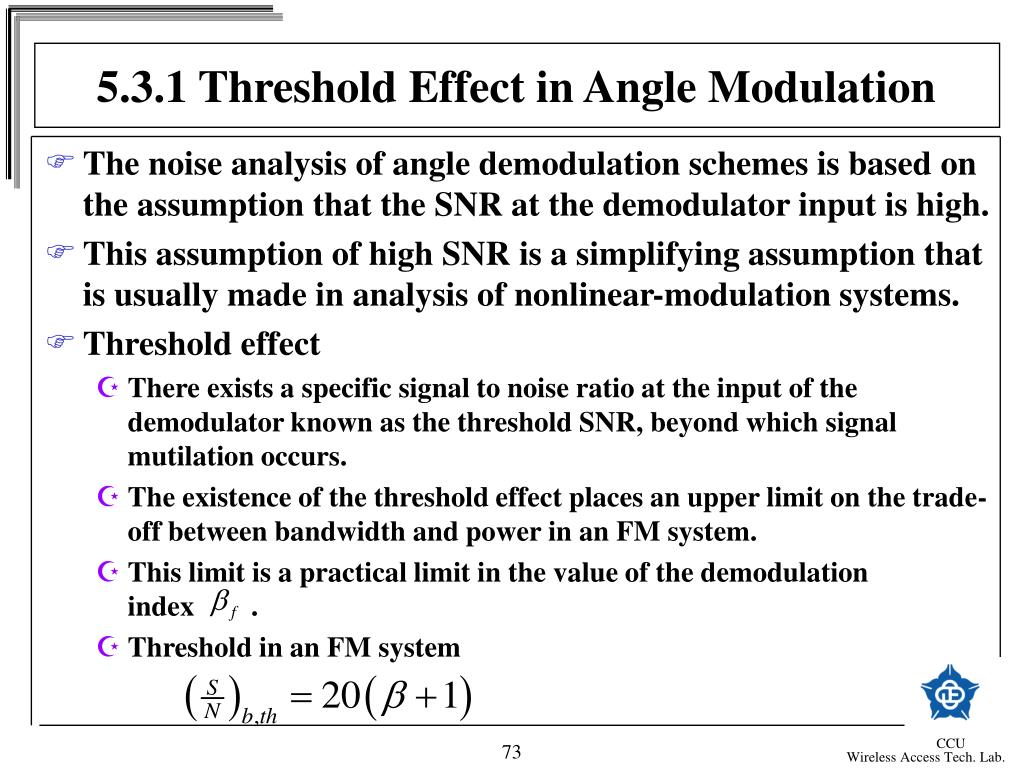 5.3.1 Threshold Effect in Angle Modulation