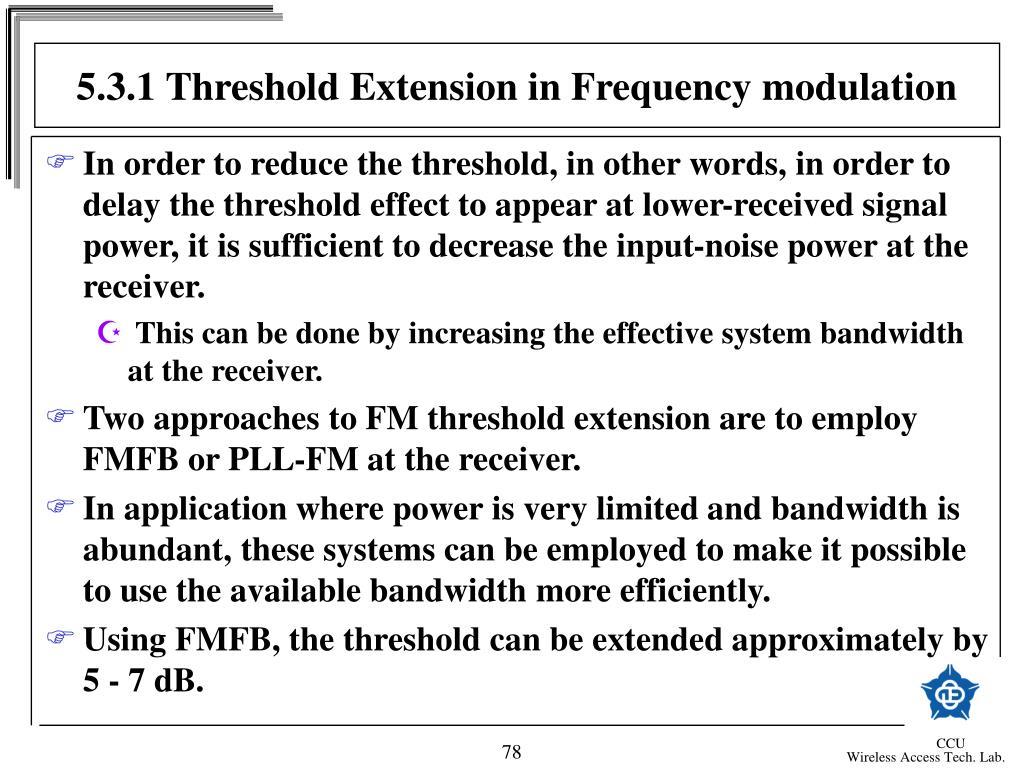 5.3.1 Threshold Extension in Frequency modulation
