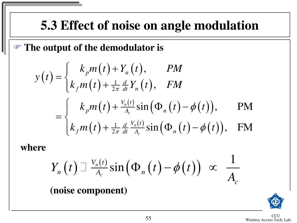 5.3 Effect of noise on angle modulation