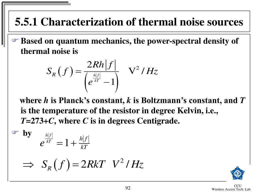 5.5.1 Characterization of thermal noise sources