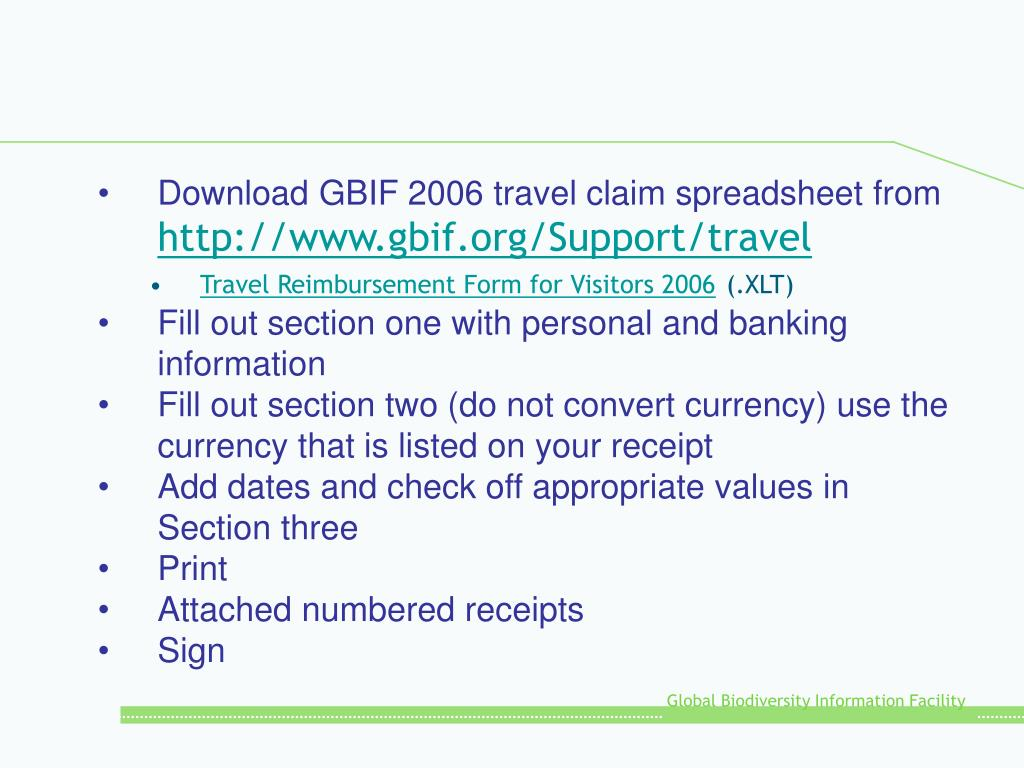 Download GBIF 2006 travel claim spreadsheet from