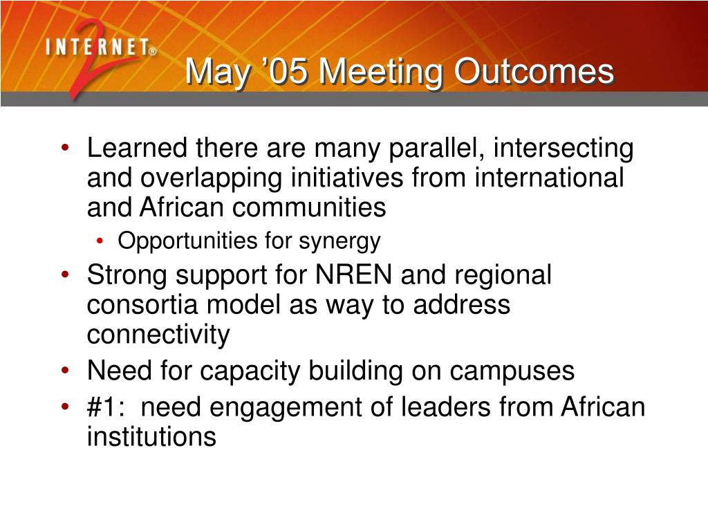 May '05 Meeting Outcomes
