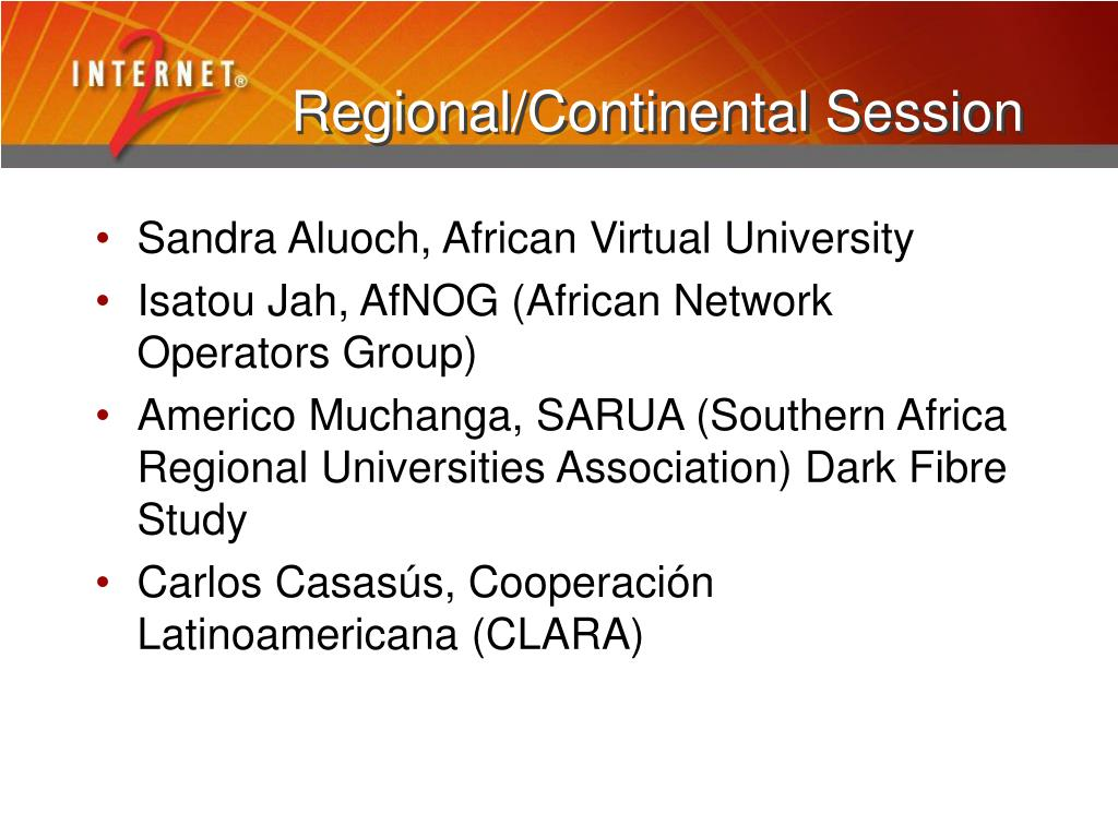 Regional/Continental Session