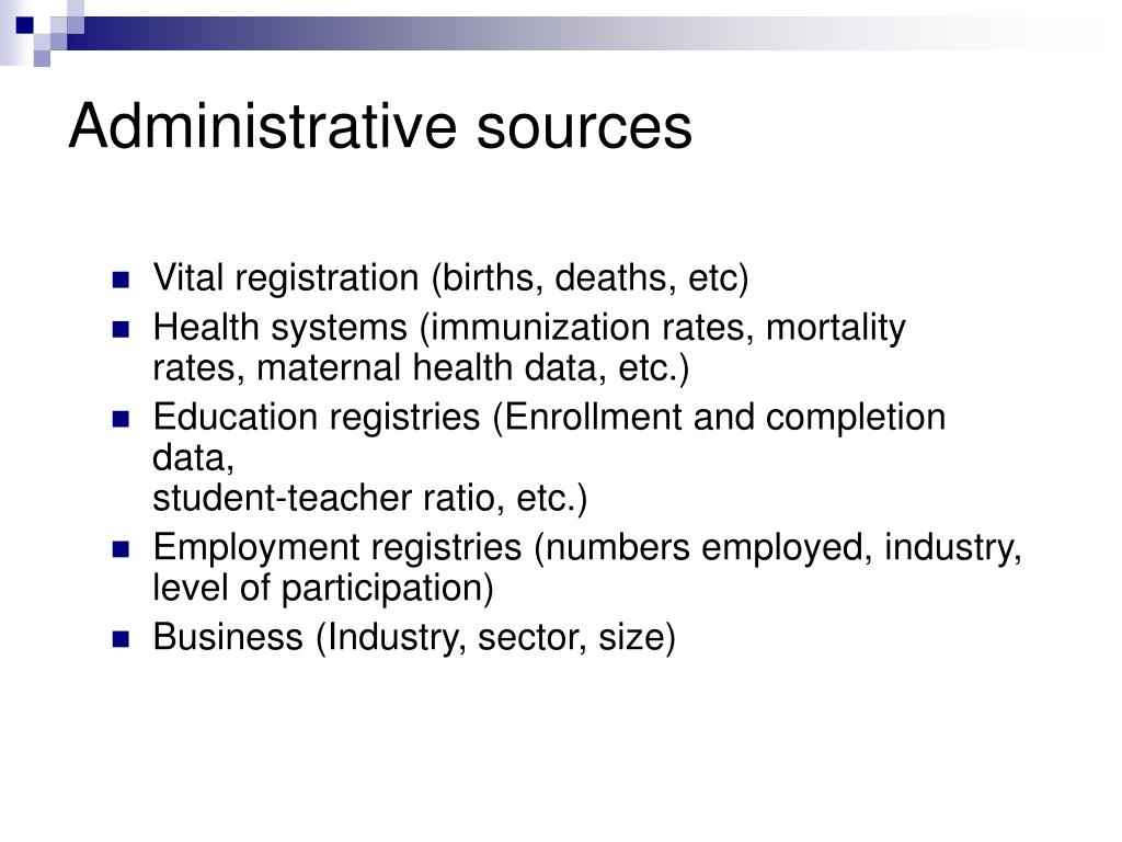 Administrative sources