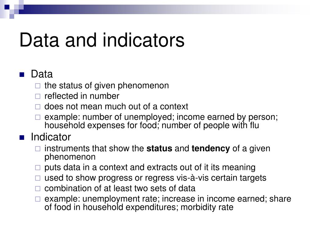 Data and indicators
