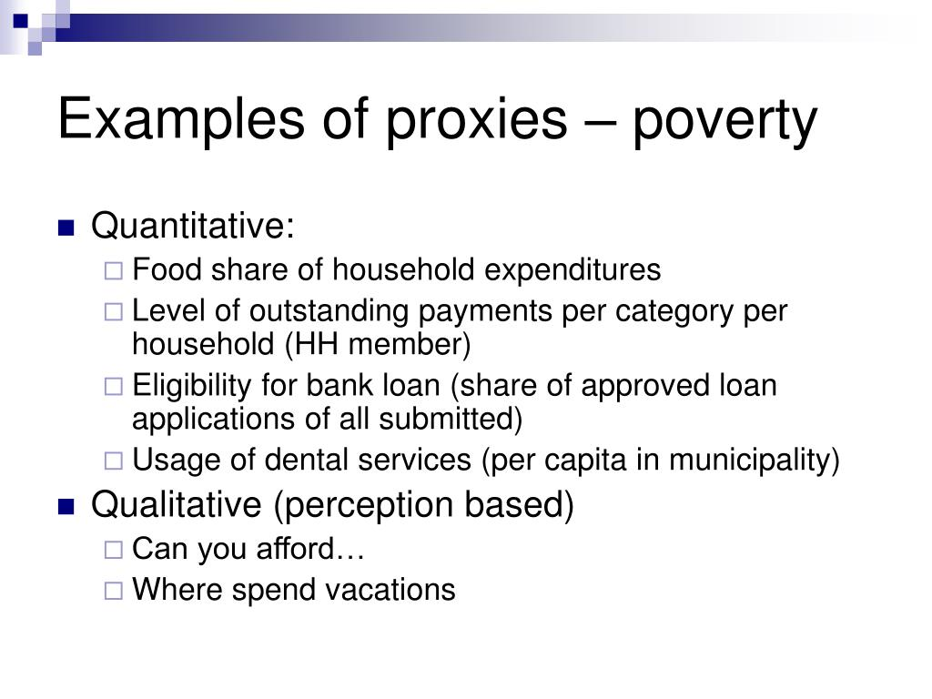 Examples of proxies – poverty