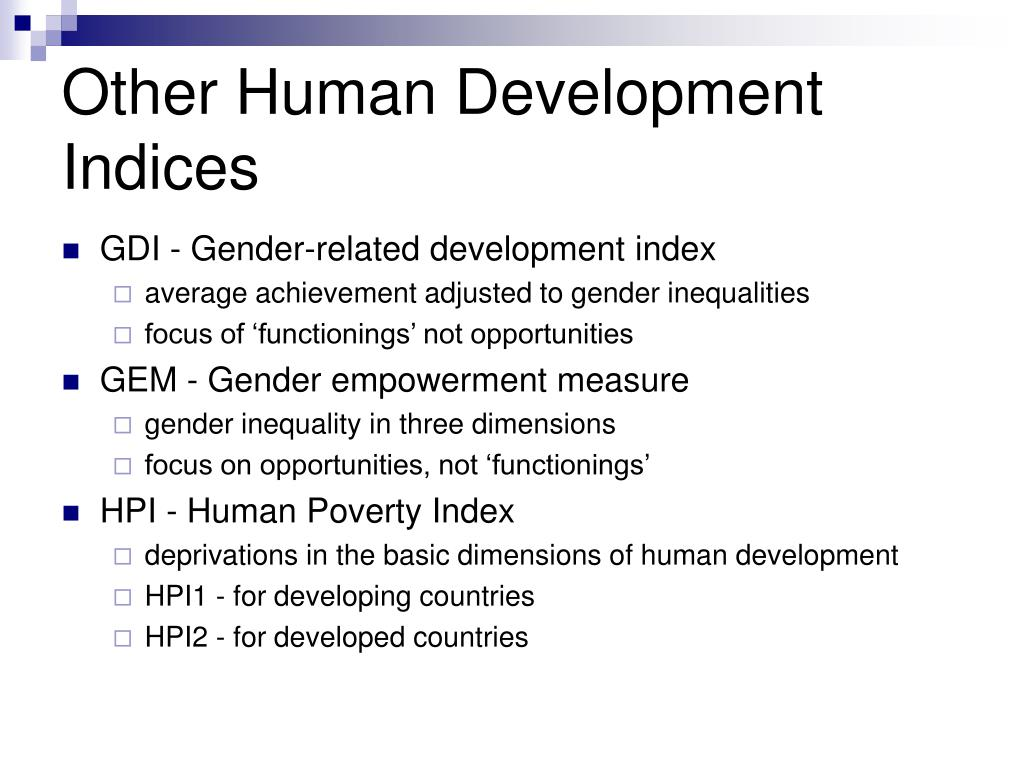 Other Human Development Indices