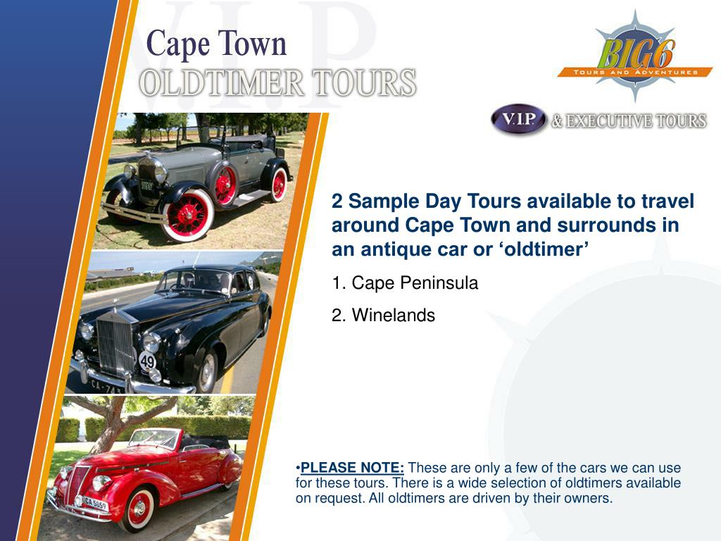 2 Sample Day Tours available to travel around Cape Town and surrounds in an antique car or 'oldtimer'