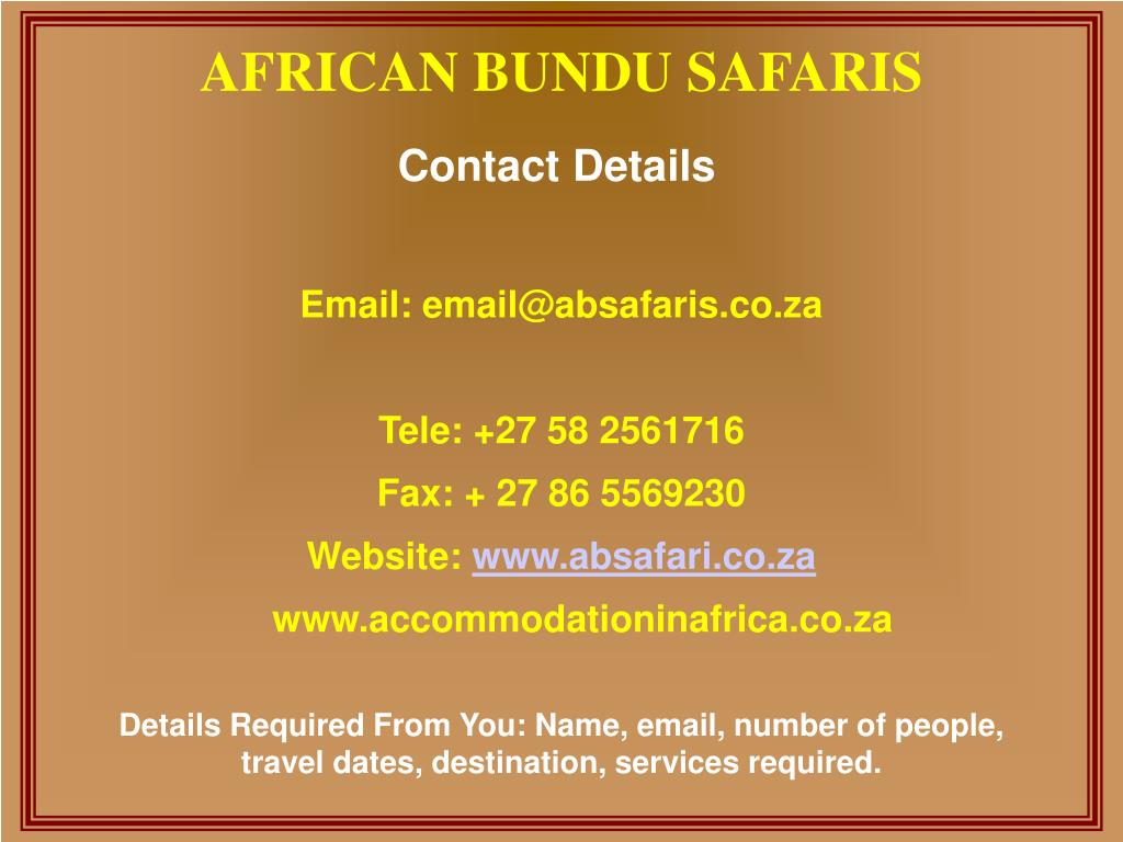 Email: email@absafaris.co.za