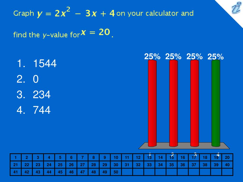 Graph {image} on your calculator and find the y-value for {image} .