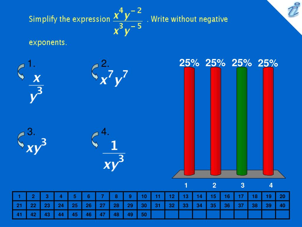Simplify the expression {image} . Write without negative exponents.