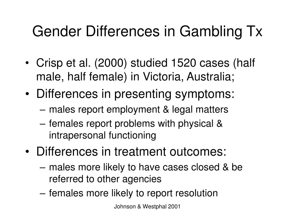 Gender Differences in Gambling Tx