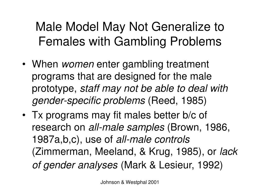 Male Model May Not Generalize to Females with Gambling Problems