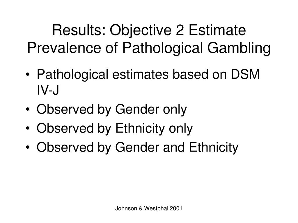 Results: Objective 2 Estimate Prevalence of Pathological Gambling