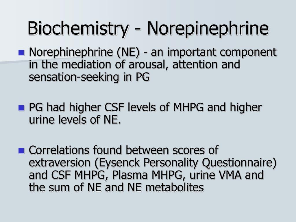 Biochemistry - Norepinephrine
