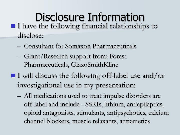 Disclosure information
