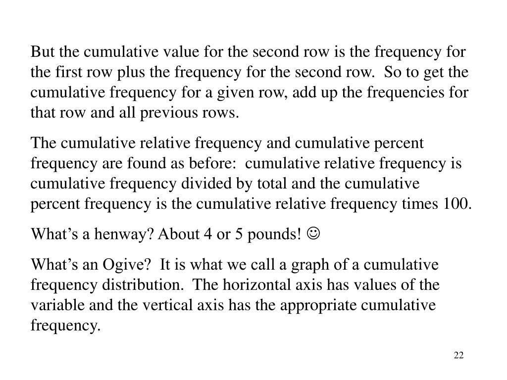 But the cumulative value for the second row is the frequency for the first row plus the frequency for the second row.  So to get the cumulative frequency for a given row, add up the frequencies for that row and all previous rows.