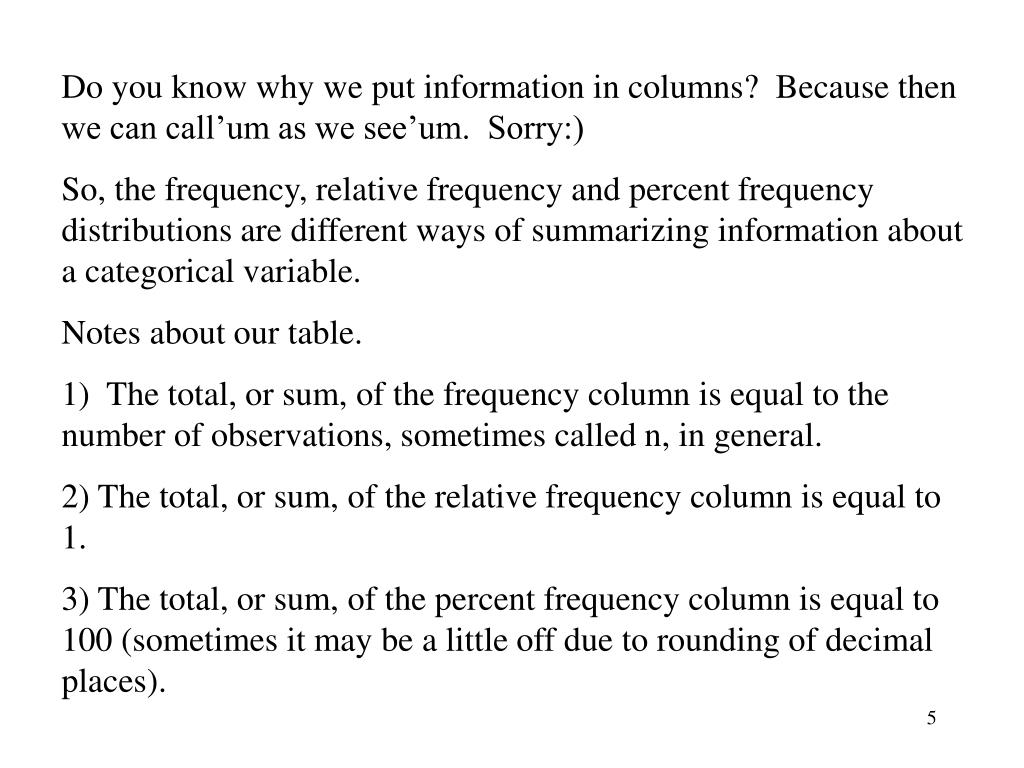 Do you know why we put information in columns?  Because then we can call'um as we see'um.  Sorry:)