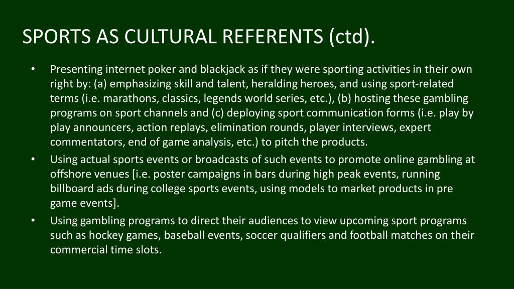 SPORTS AS CULTURAL REFERENTS (ctd).