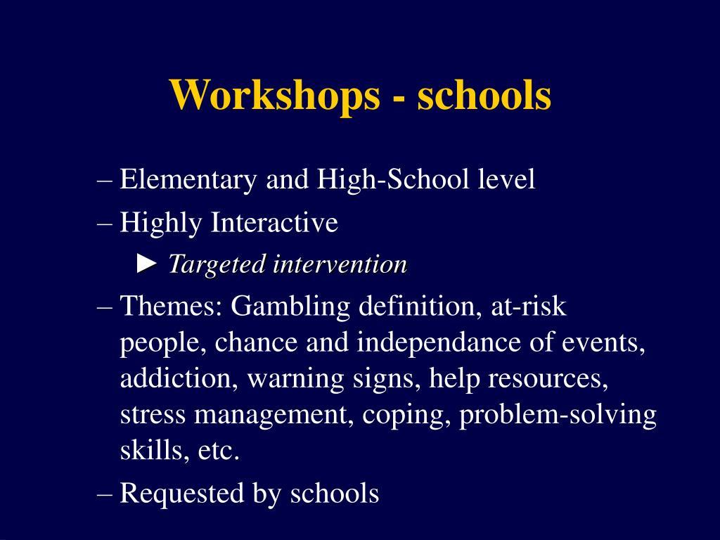 Workshops - schools