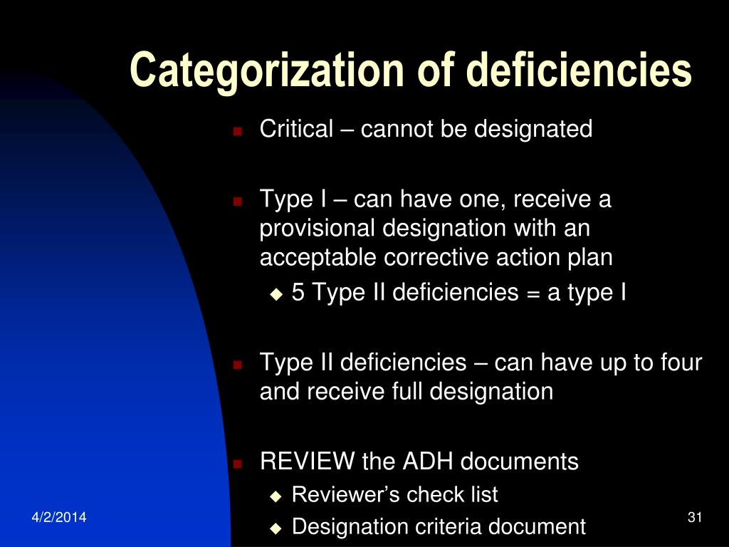 Categorization of deficiencies