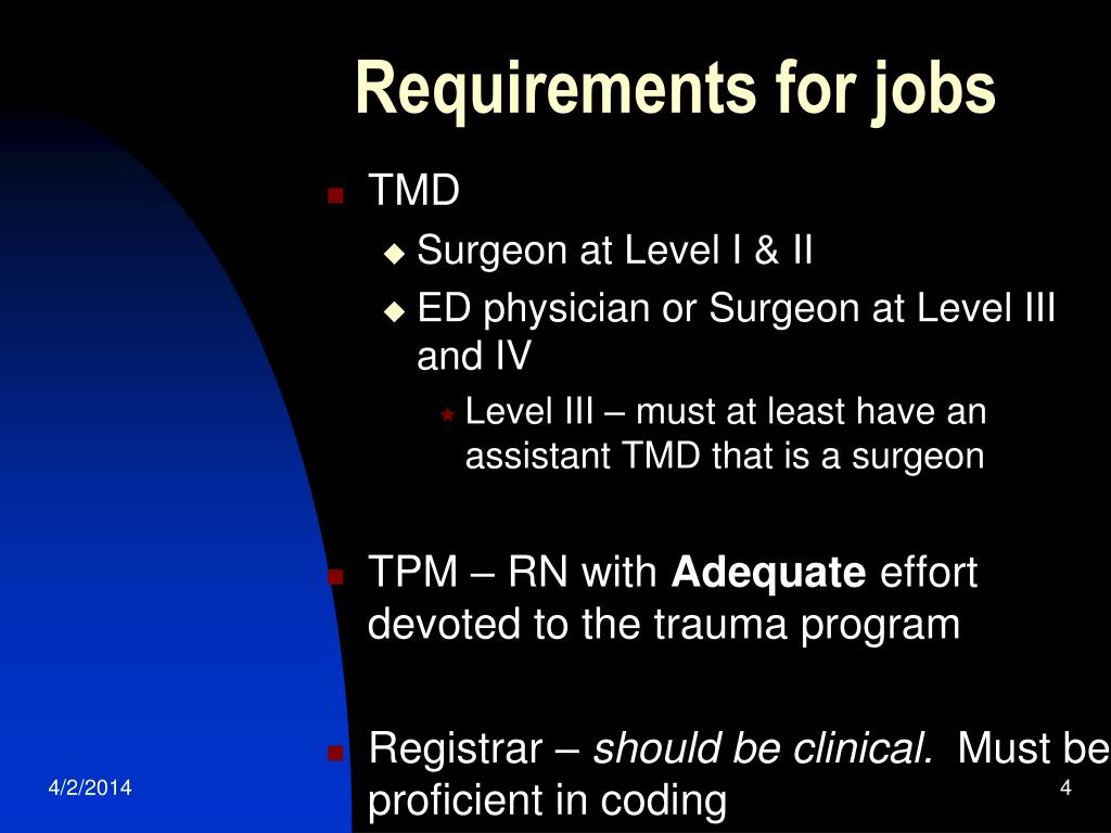 Requirements for jobs