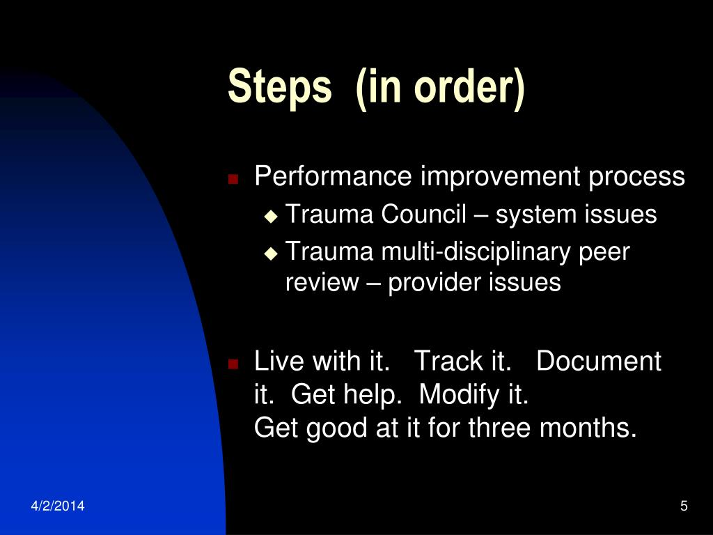 Steps  (in order)