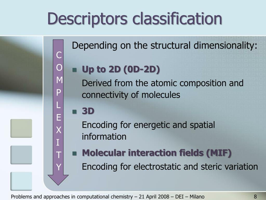 Descriptors classification