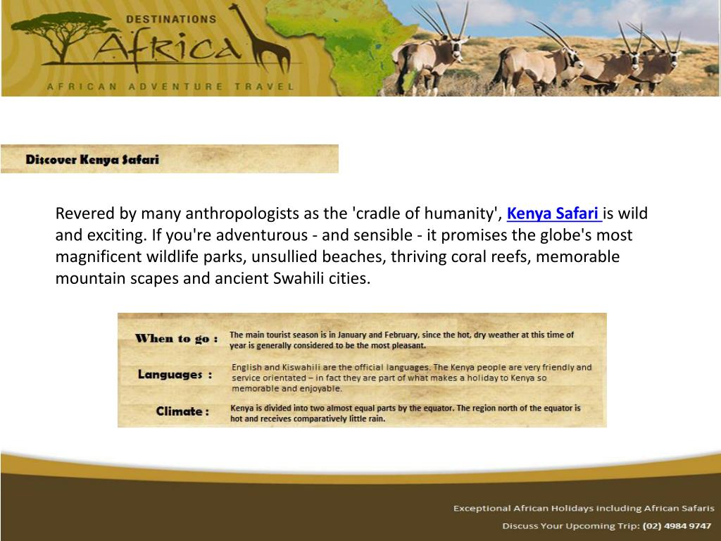 Destinations Africa offers: