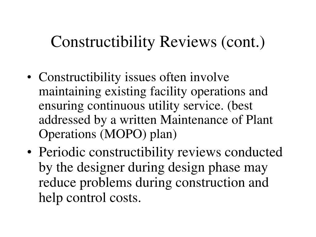 Constructibility Reviews (cont.)