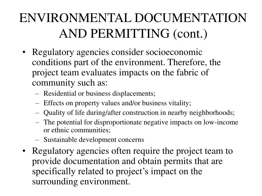 ENVIRONMENTAL DOCUMENTATION AND PERMITTING (cont.)