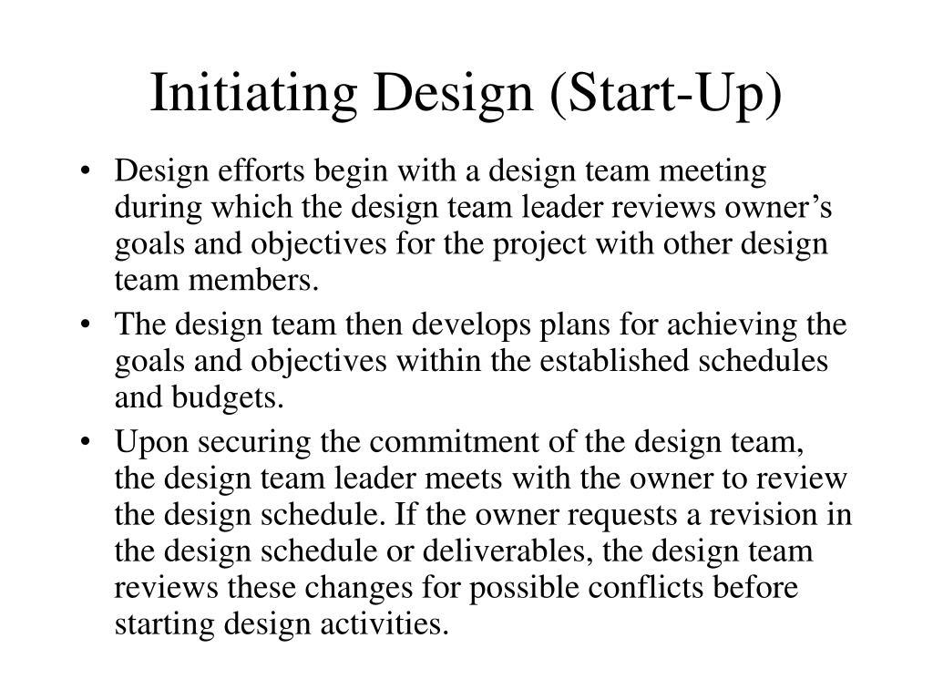 Initiating Design (Start-Up)