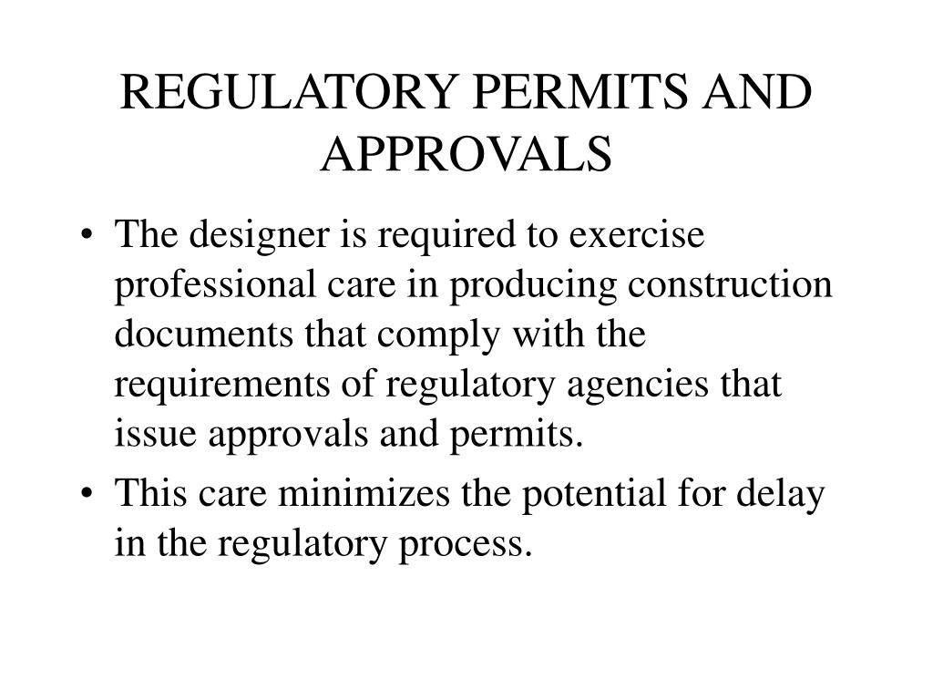 REGULATORY PERMITS AND APPROVALS