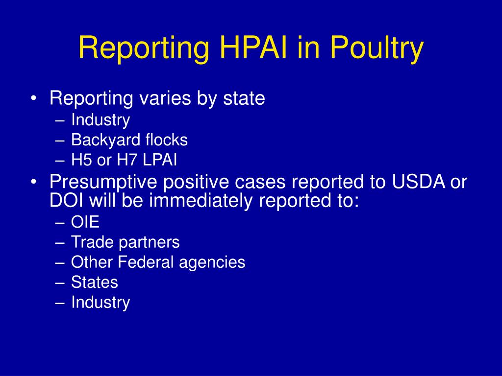 Reporting HPAI in Poultry