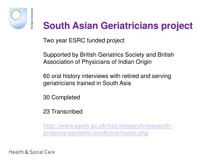 South asian geriatricians project